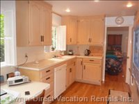 Kitchen, Looking Toward Living Room - Kitchen is Fully Equipped--guests Have Served Meals to 8-10 People
