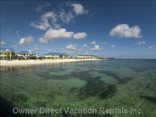 Looking Back at the Resort from the Pier - Love the Clarity of the Water in the Cayman Islands