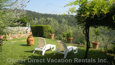 Garden and Swimming Pool with Panoramic View of Chianti Hills