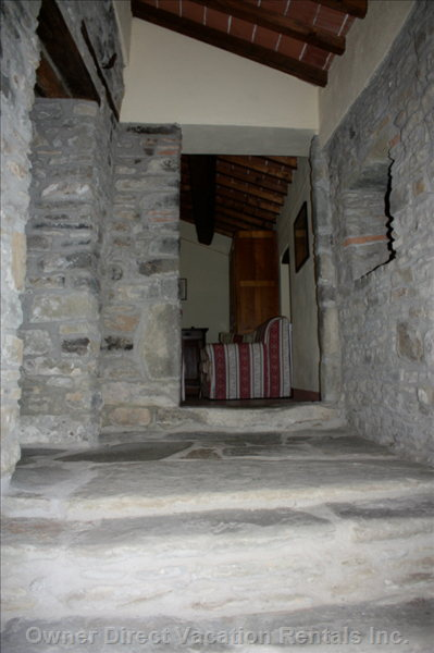 Second Entrance to Cottage, with Original Stone Stairs to Sitting Room - Wherever Possible, the Original Features of the Cottage Have Been Retained.