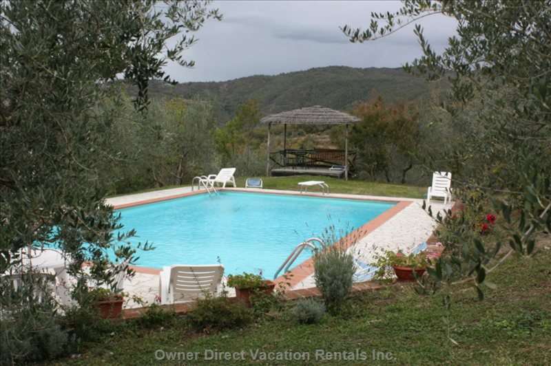 Pool at Dusk - the Pool is a Great Focal Point of IL Borgo.