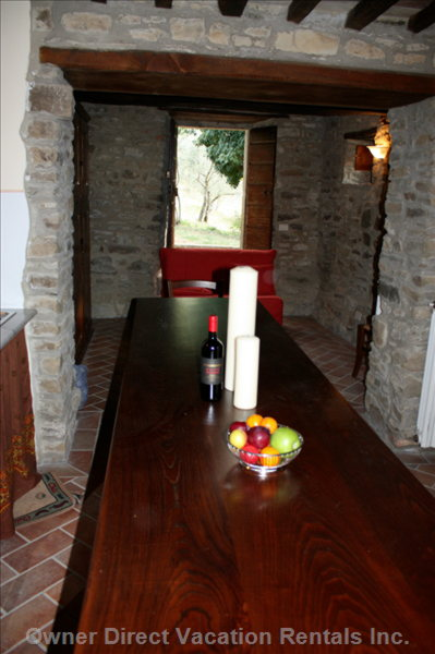 Large Dining Room and Kitcehn - this Additional Room is Made Available for Group Reservations Where the Whole of IL Borgo is Taken by Friends / Family. it has an Additional Kitchen and Seating for 10-12 along with Additional Sofas and an Extra Bathroom