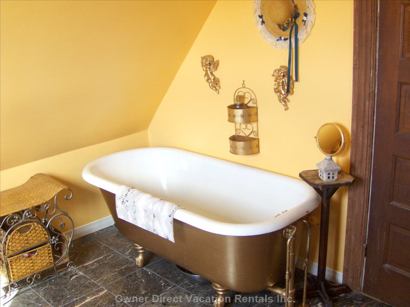 The Zen Bathroom - Soak Luxuriously in an Antique Claw Foot Tub. Light your Incense,and Candle,Pour a Glass of Wine,and Lay Back Listening to Ravels Bolero...sigh..
