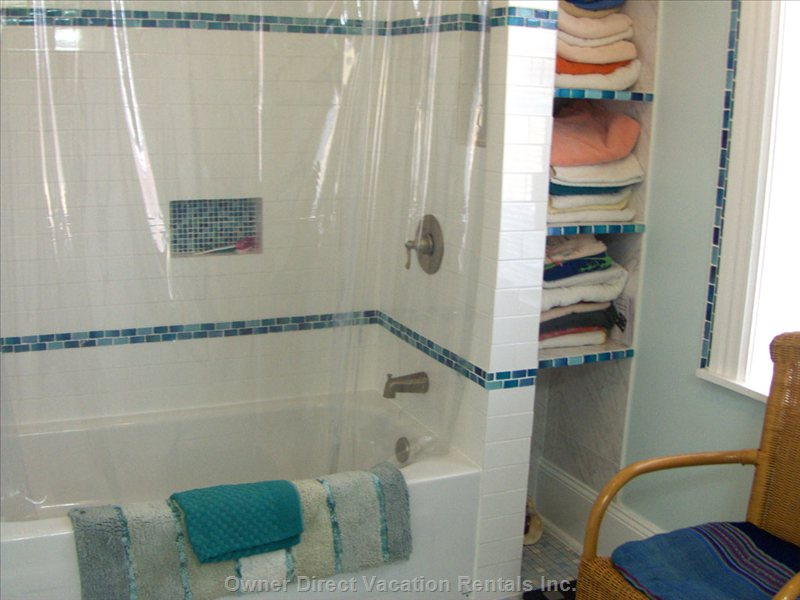The Roman Bathroom - Complete New Renovation with Turkish Tiles and Gorgeous Aegean Blue Glass Mosaic Tiles.