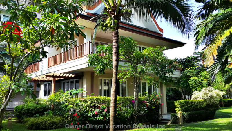 4 Bedroom Beach Villa Set in Lush Tropical Gardens 250 Sqm, 3 Stories with Kitchen, Large Living Room and Private Spa.