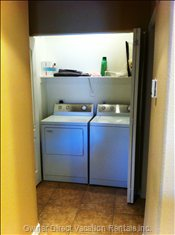 Laundry Closet - Washer, Dryer, Iron and Table Top Ironing Board