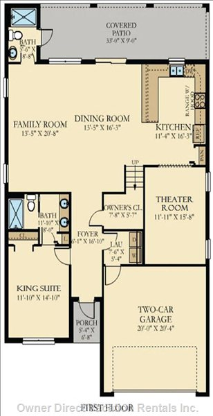 Check out our First Floor: Downstairs Master suite1, Theater Room, Kitchen,  Living Room, and Pool Bathroom