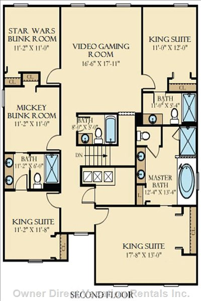 Take a Look at the Second Floor: Upstairs 3 King Suites, 2 Themed Bunk Rooms, Video Gaming Room, and Hall Bath