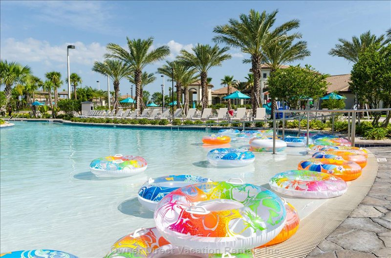 Your Pool Float is Waiting at the Heated Oasis Club Lazy River, a 2 Minute Walk from Sun Gathering House!