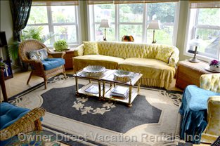 "Sun Room,  Private Sitting Area with  Gas Fireplace, and 32""Tv,"
