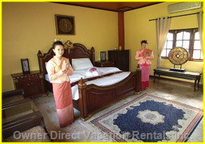 King Size Bed - the Compound Offers Accommodation in Eight Bungalows with En Suites, this is one of the 8 Bedrooms.