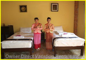Twin Beds - the Compound Offers Accommodation in Eight Bungalows with En Suites, this is one of the 8 Bedrooms.