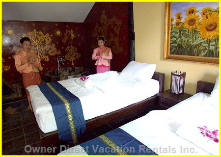 Twin Beds - each House has 2 Units that Are Able to be Rented, this is one of the Bedrooms.
