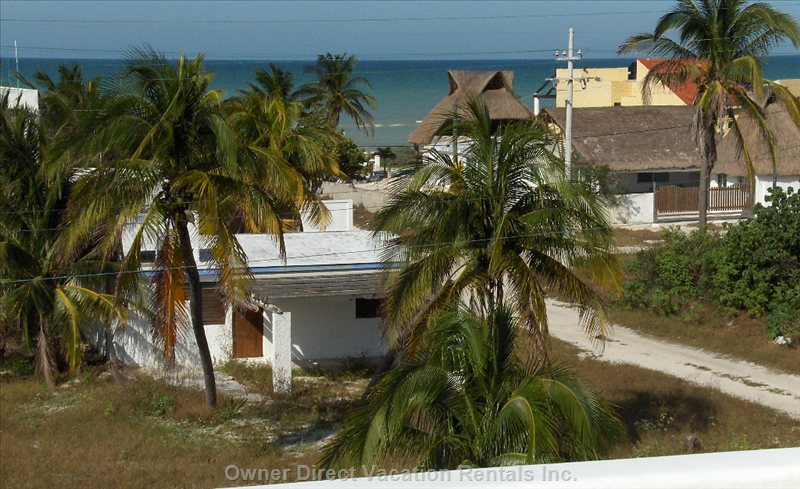 View to the Beach from Upper Deck. Chicxulub, Yucatan, Mexico.