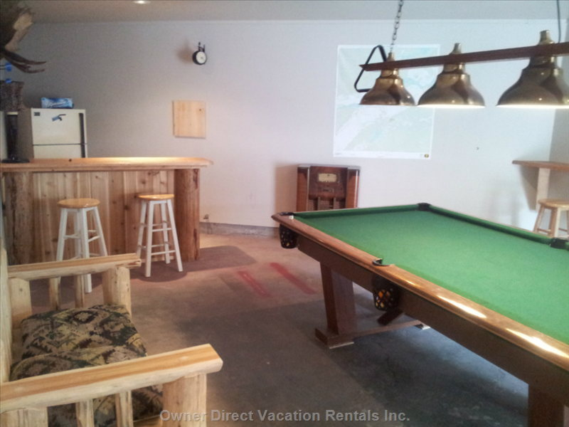 Games Room with Pool Table for Guest's Use. Sign the Wall!