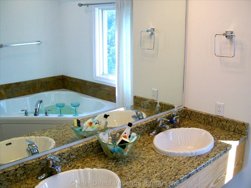 Chincoteague Is. Vacation Rental  Master Bath - 2 Person Whirlpool and Walk in Shower