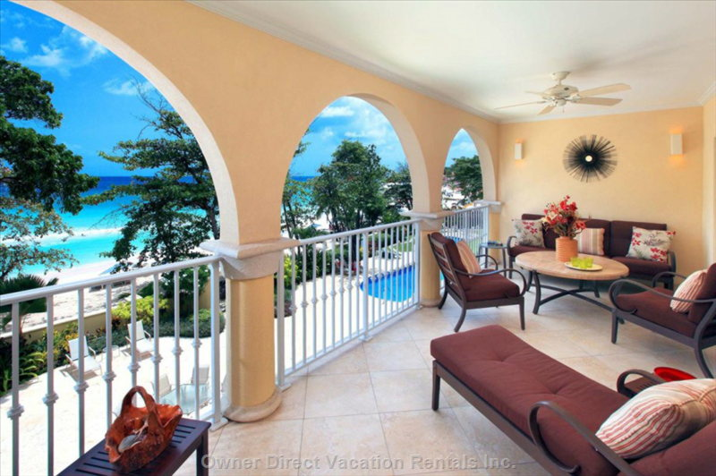 Covered Balcony (200 Sq. Ft.) Overlooking Pool and Beach.   Rates Vary by Date, so Please Check our Calendar.