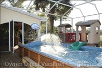 Swim Spa - with Water Fountain - Kids Club House - Bbq Also Located in Screened Deck