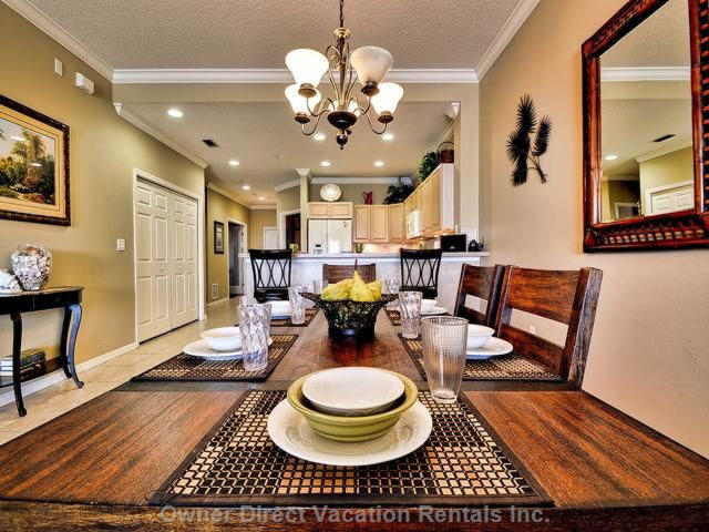 Dining Room to kitchen.Dining Room Seats 8 in Comfort