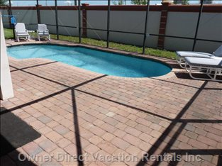 Large Paved Pool Deck