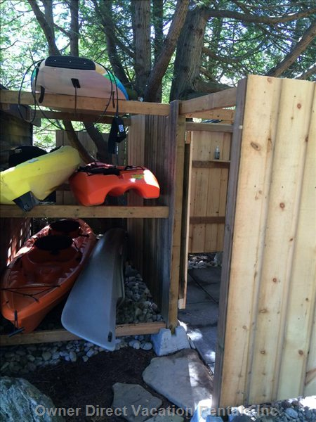 Outdoor Shower and the Sup(Stand up Paddleboard),and Kayaks