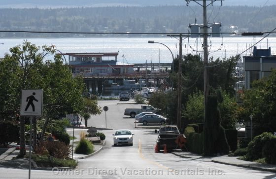 Comox Marina  - View from Comox Avenue in Downtown Comox Looking Towards the Marina, Black FIN Pub and Park.