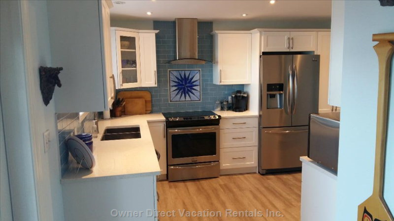 Brand New Kitchen with Ss Appliances, Ice/Water Dispenser, Microwave, Quartz Countertops
