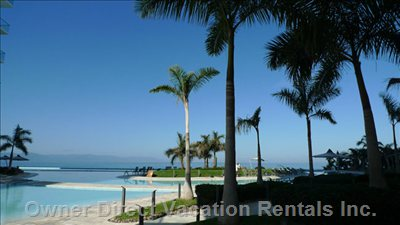 Gardens and Pools - Brand New, Beautifully Furnished, Oceanfront Luxury 2nd. Floor Condo, Puerto Vallarta Hotel Zone.
