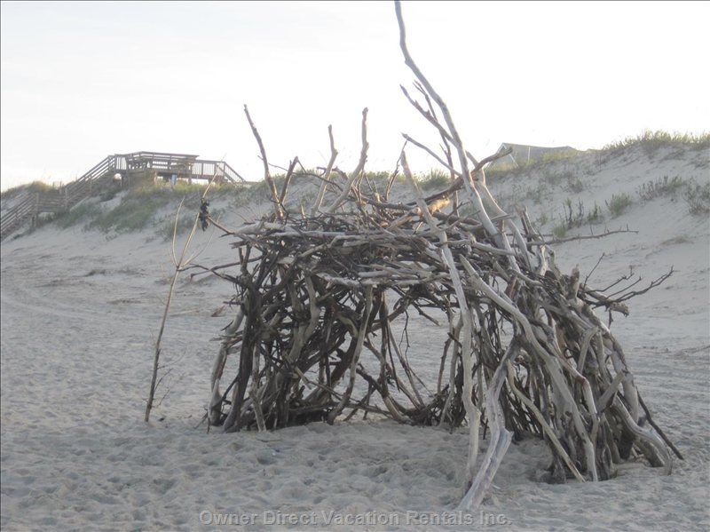 A Driftwood Fort on the Beach
