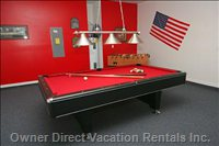 Games Room with Pool Table, Foosball and Dart Board