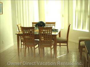 Comfortable Dining Area which Adequately Seats 8