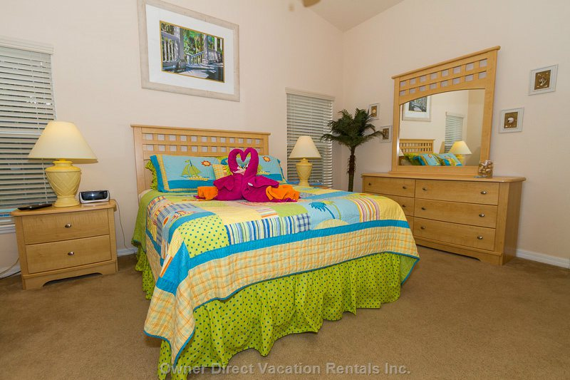 This Beautiful Master Bedroom has Been Tastefully Furnished with that Beach Tropical Theme. A Flatscreen Tv & Computer are in this Room