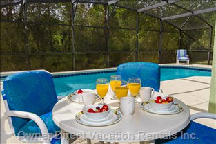 Alfresco Dining Awaits you and Overlooking the Pool with Lots of Privacy.