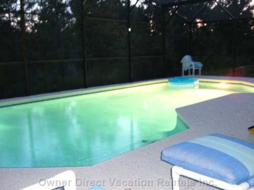 The Swimming Pool at Nighttime - Enjoy a Nighttime Swim with the Coloured Pool Lights and Heated Pool.