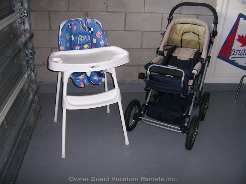 Baby Equipment. High Chair Pram / Stroller Travel Cot
