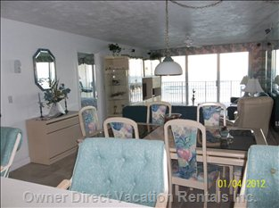 Living Room and Dining Room Oceanfront  (this Unit)