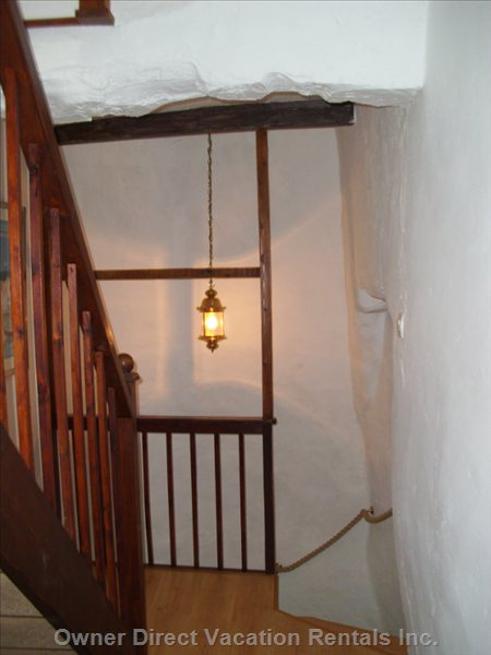 Landing between the First Floor and Second Floor up the Stone Stair Case