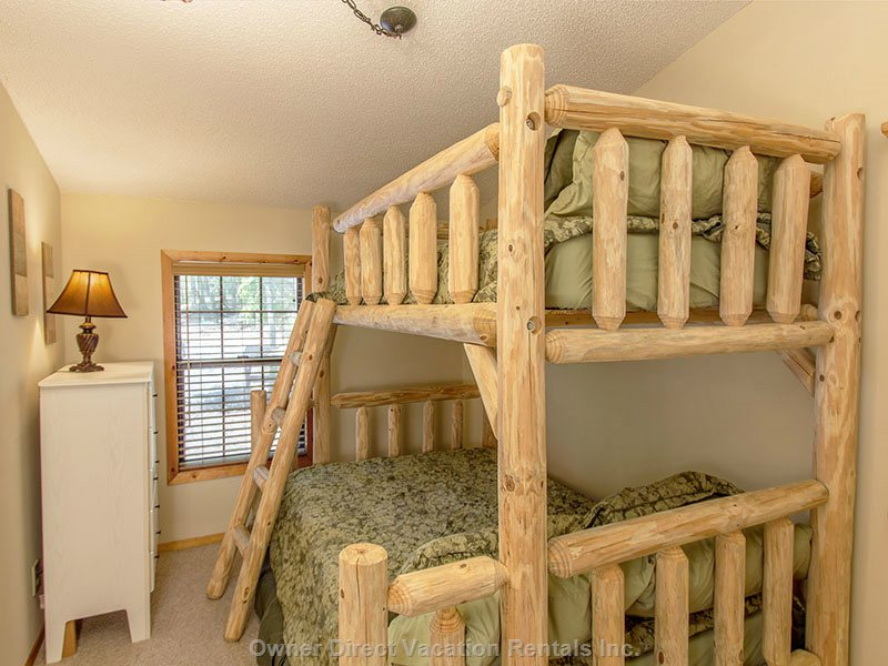 3rd Bedroom with Twin/Full Custom Log Bunk Beds with Flat Screen Tv