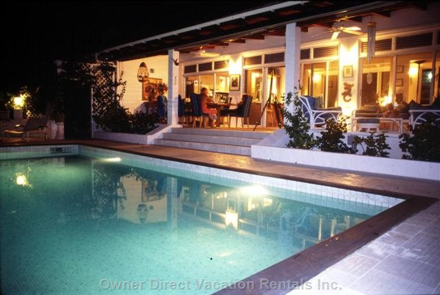 Pool & Patio at Night