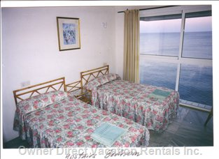 Upstairs Bedroom - Three of the Four Bedrooms Face the Sea.