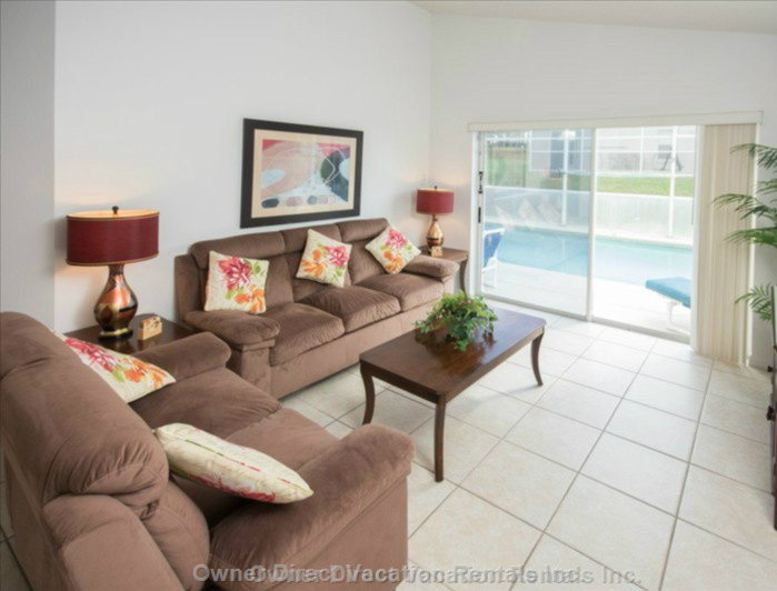 "The Family Room,with 32"" Flat Screen Tv and Patio Doors to the Pool."