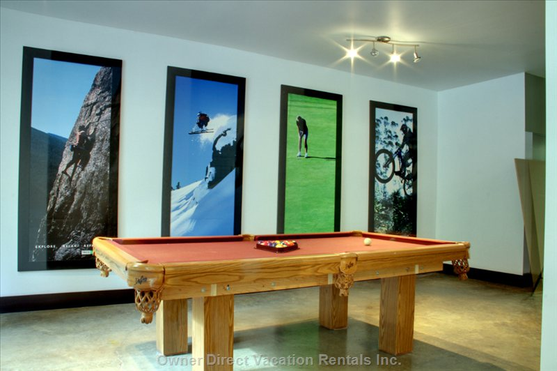 Recreation Room with Billiards Table, 42-Inch Flat Screen Tv, Desk, Couch/Sofa.