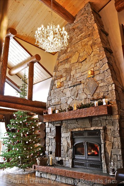 Open Plan Lounge with Log Fireplace