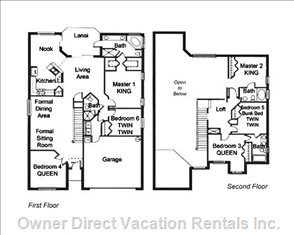 Villa Floor Plan - with 3 Bedrooms on each Floor 2 Baths on each Floor as Wel as Two Main Living Areas and a Kitchen / Nook on the First Floor and a Loft on the Second Floor.