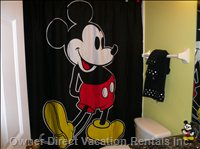 One Bathroom is Disney Themed. it is Ensuite to the King Bedrom and Next to the Disney Themed Troom.