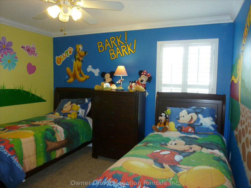 Disney Room - this Room has 2 Twin Beds and is Decorated in Classic Mickey Disney Style. 32 in Hdtv New Furniture/Carpet Sept 2012