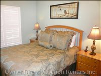 Queen Bedroom  - Queen Bedroom with TV, Stereo, Phone, Ceiling Fan.