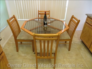 The Kitchen has a Breakfast Area and a Breakfast Bar with Swivel Barstools