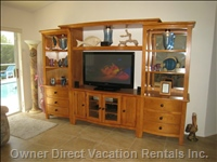 "Our Entertainment Unit has a 42"" Plasma hd Cable Tv, Home Theatre System (Blue-Ray, Dvd, Cd, Fm Radio, Ipod Dock & Surround Speakers)"