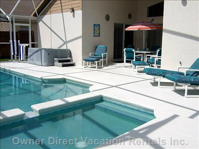 Pool Area - Private Pool Area with Large Sun Deck, Childrens Paddling Pool, Swimming Pool, Hot Tub, Covered Lanai and Luxury Patio Furniture. we Have 4 Chairs, 5 Reclining Chairs, 2 Stools and 2 Loungers So There is Plenty to Go Around.